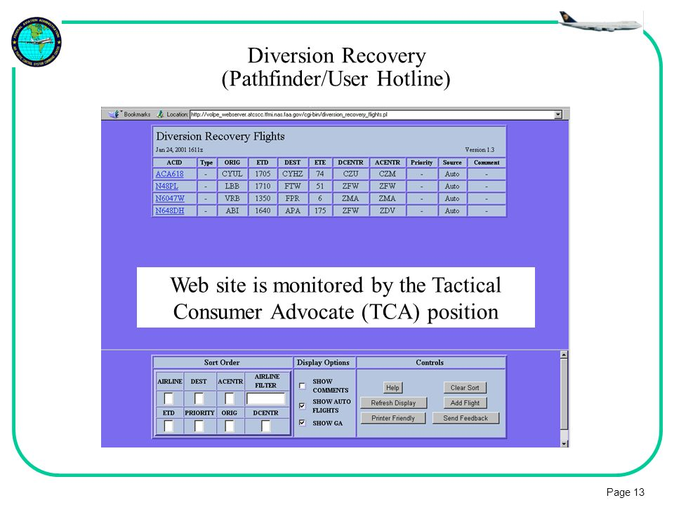 Diversion Recovery (Pathfinder/User Hotline)