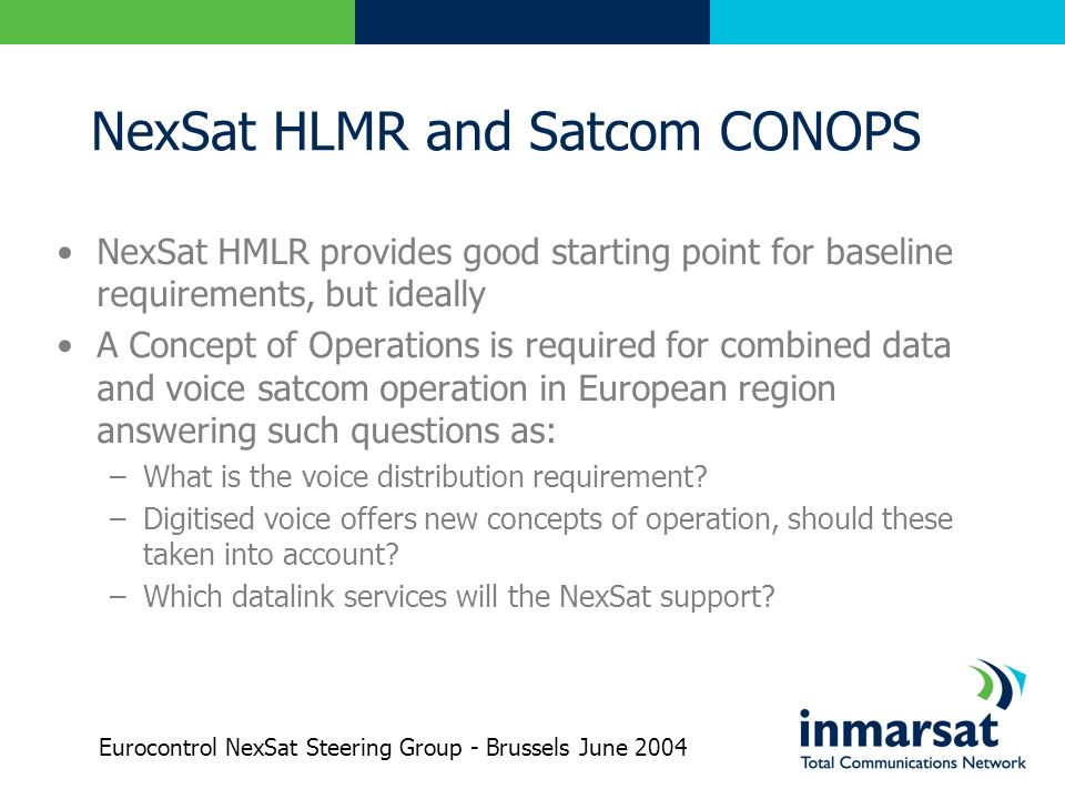 NexSat HLMR and Satcom CONOPS