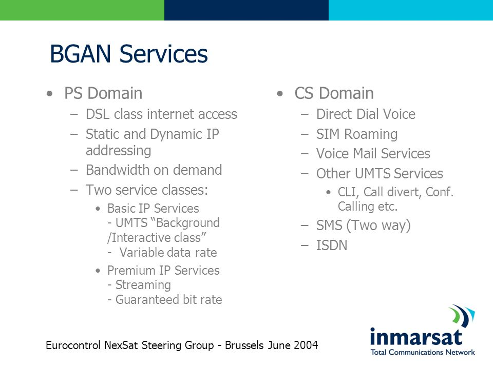 BGAN Services PS Domain CS Domain DSL class internet access