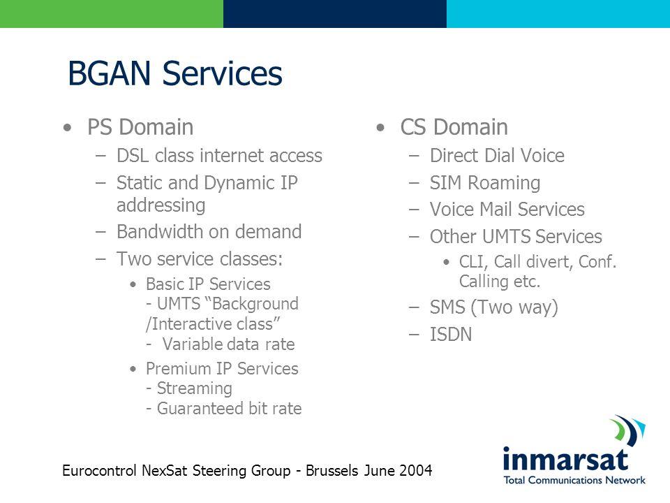 BGAN Services PS Domain CS Domain DSL class internet access