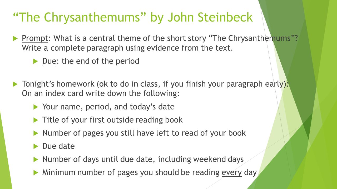john steinbeck the chrysanthemums Steinbeck's the chrysanthemums  article steinbeck's the chrysanthemums  gregory j palmerino the explicator volume 62, 2004 - issue 3.