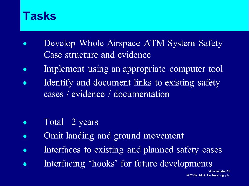 Tasks Develop Whole Airspace ATM System Safety Case structure and evidence. Implement using an appropriate computer tool.