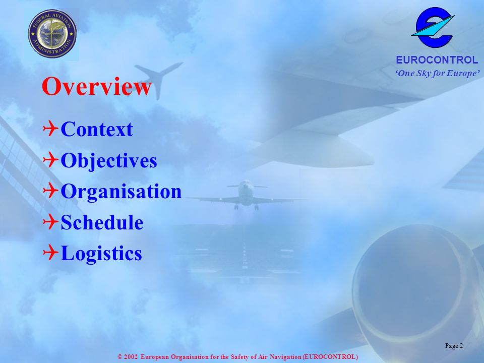 Overview Context Objectives Organisation Schedule Logistics