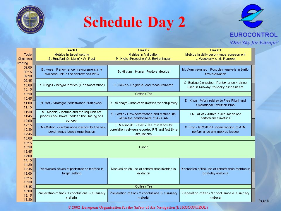 Schedule Day 2 Please study the presentations and decide on which track to attend.