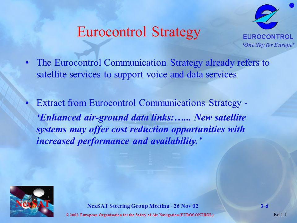 Eurocontrol Strategy The Eurocontrol Communication Strategy already refers to satellite services to support voice and data services.