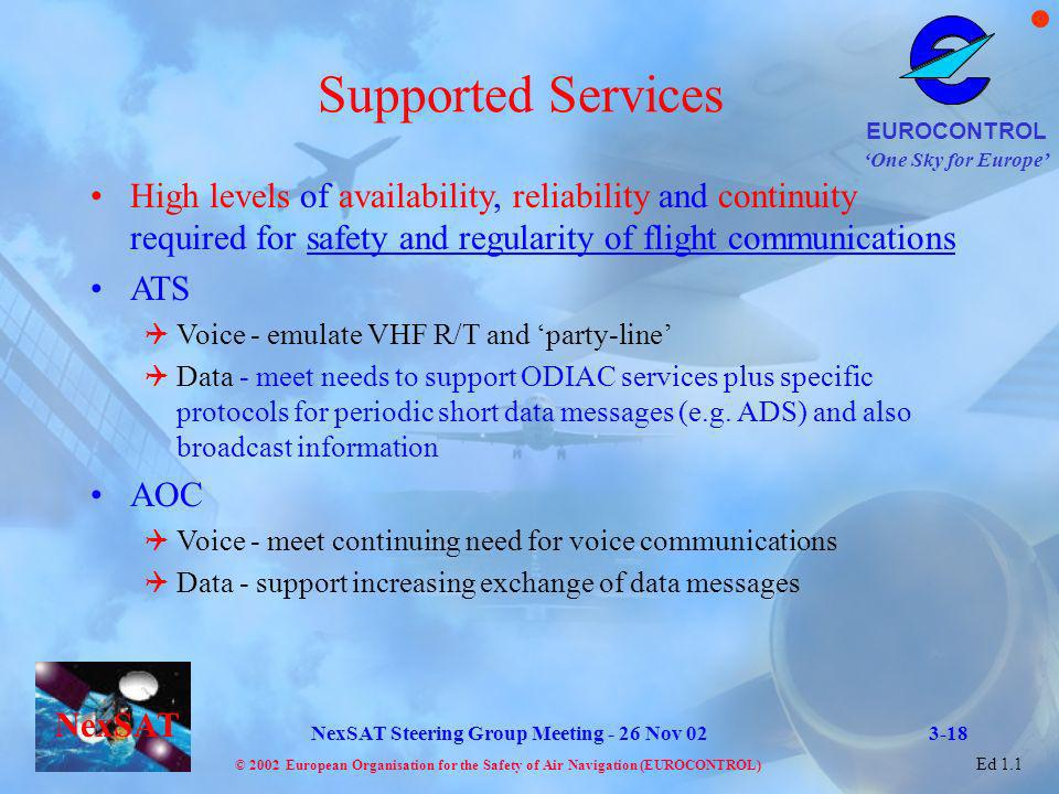 Supported Services High levels of availability, reliability and continuity required for safety and regularity of flight communications.