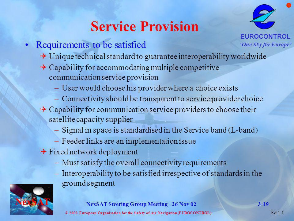Service Provision Requirements to be satisfied