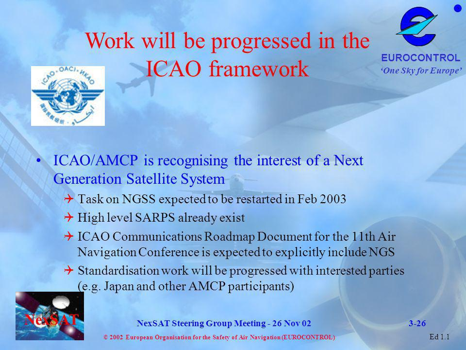 Work will be progressed in the ICAO framework
