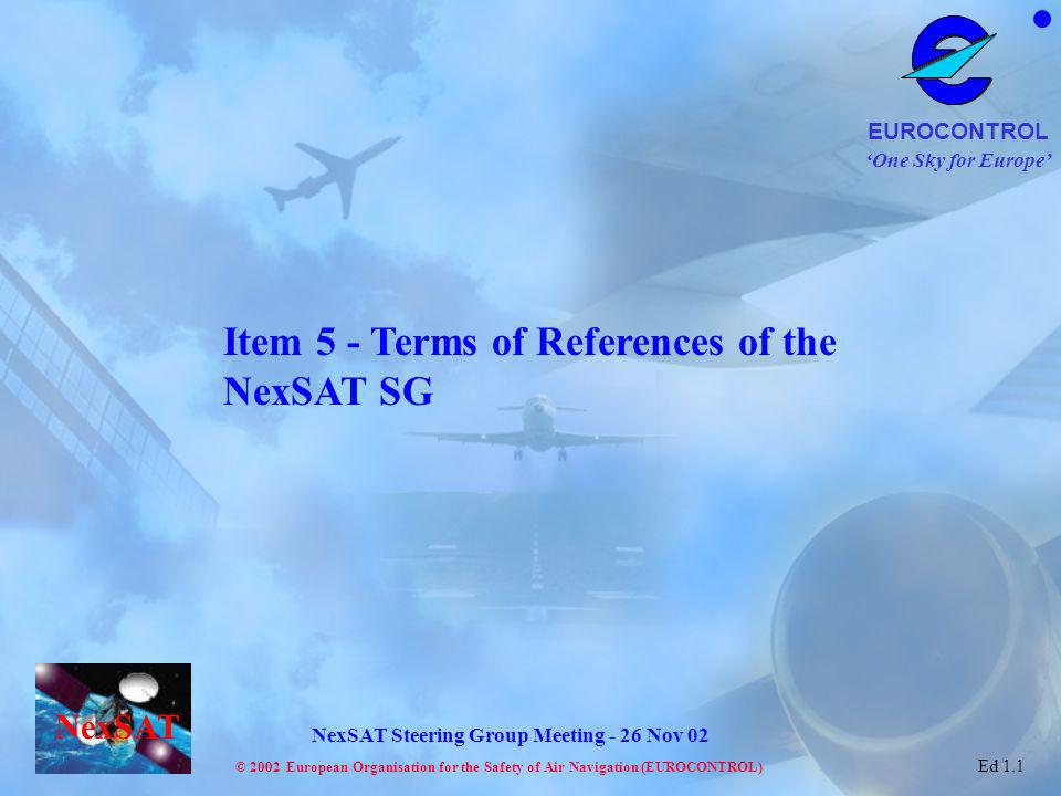 Item 5 - Terms of References of the NexSAT SG