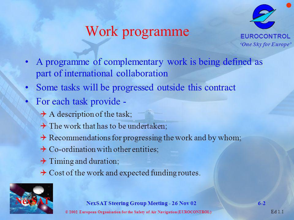 Work programme A programme of complementary work is being defined as part of international collaboration.