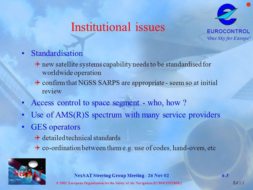 Institutional issues Standardisation