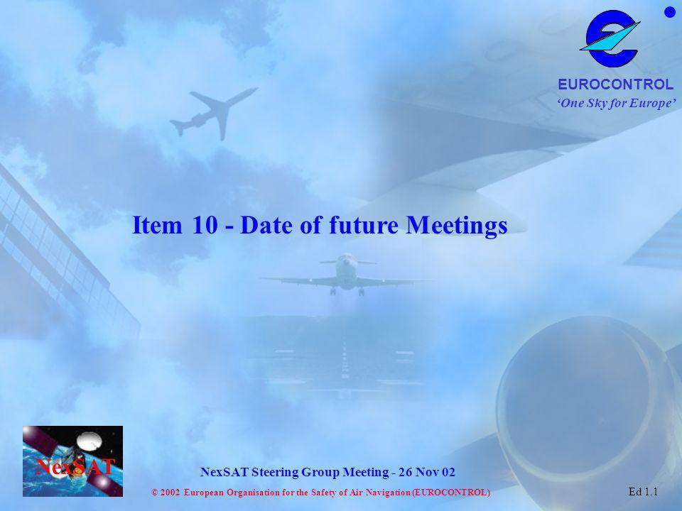 Item 10 - Date of future Meetings