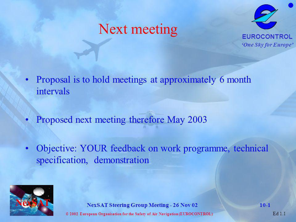 Next meeting Proposal is to hold meetings at approximately 6 month intervals. Proposed next meeting therefore May 2003.