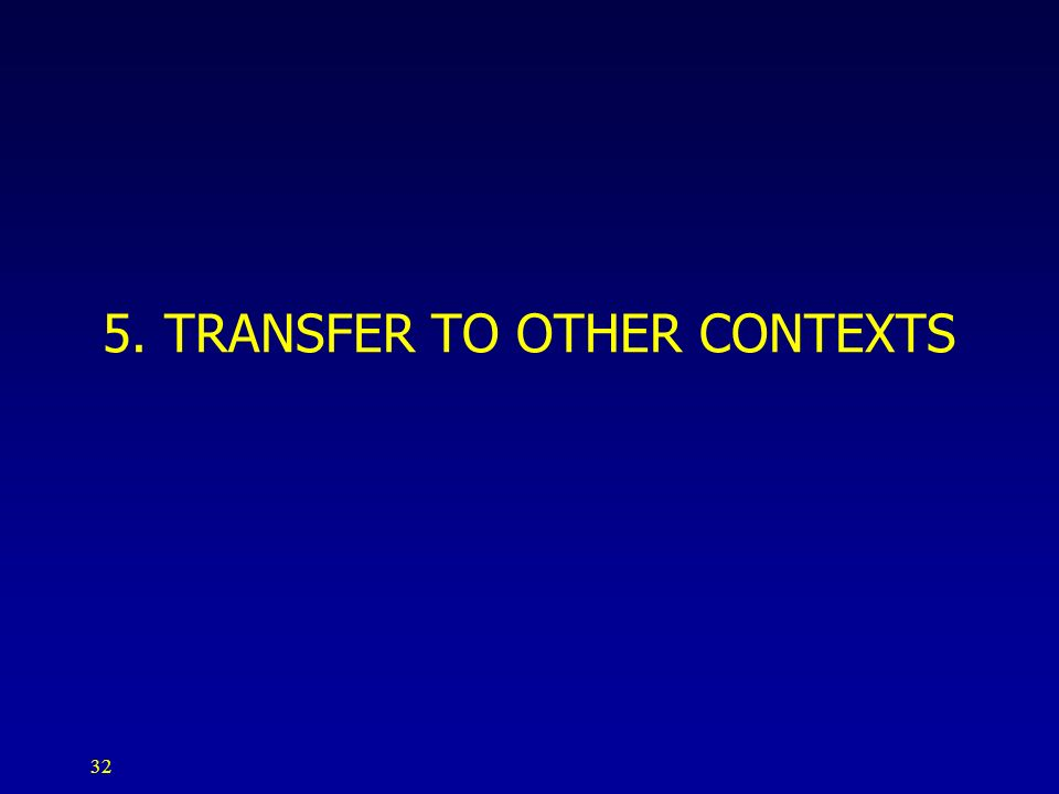 5. TRANSFER TO OTHER CONTEXTS