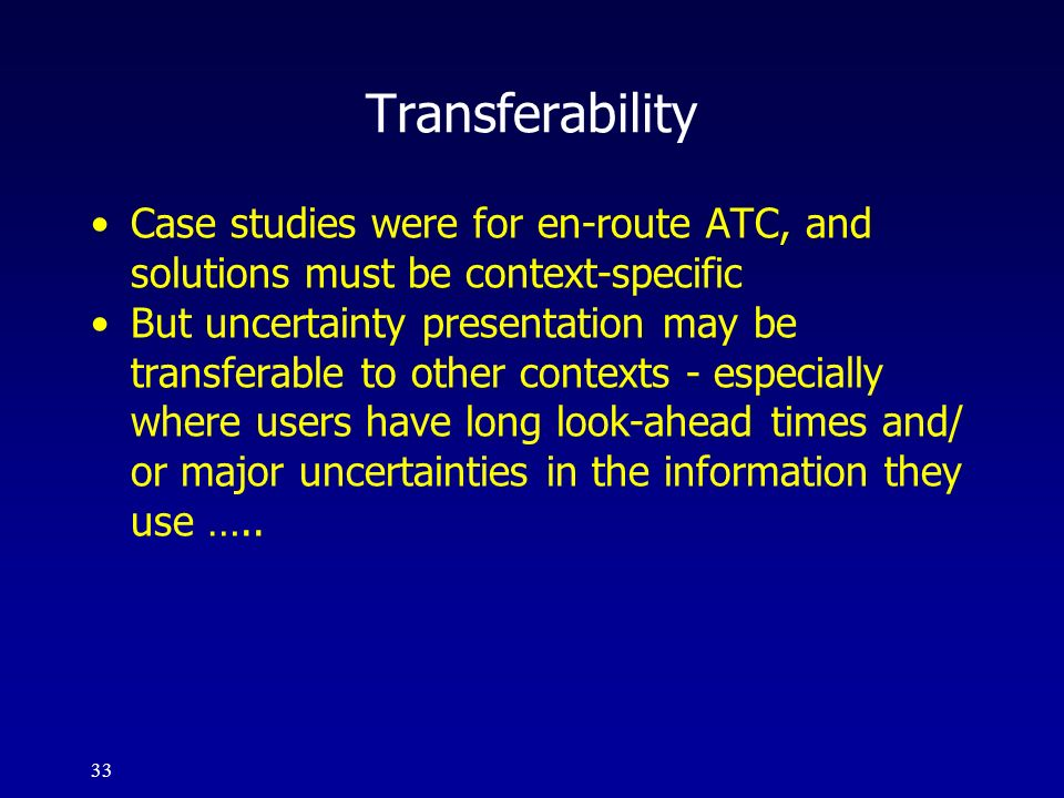 Transferability Case studies were for en-route ATC, and solutions must be context-specific.