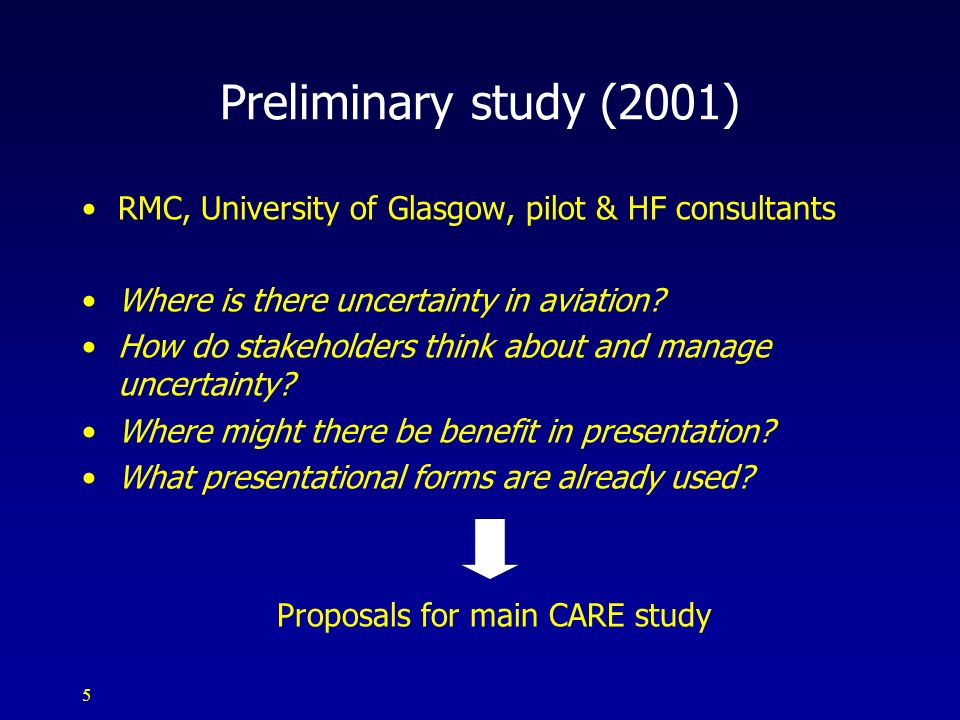 Proposals for main CARE study