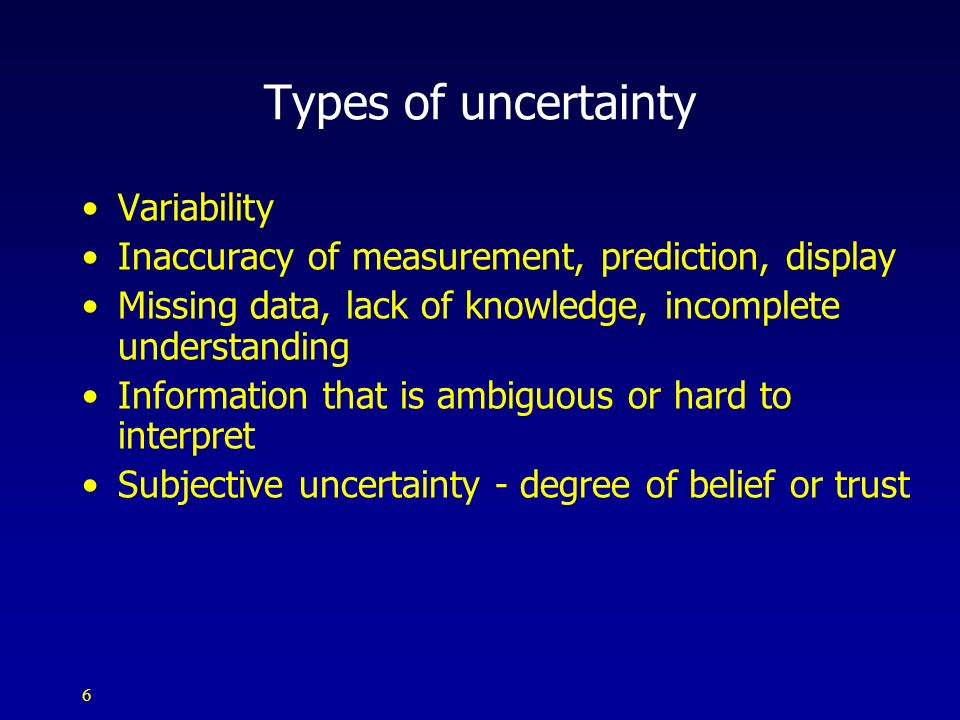 Types of uncertainty Variability