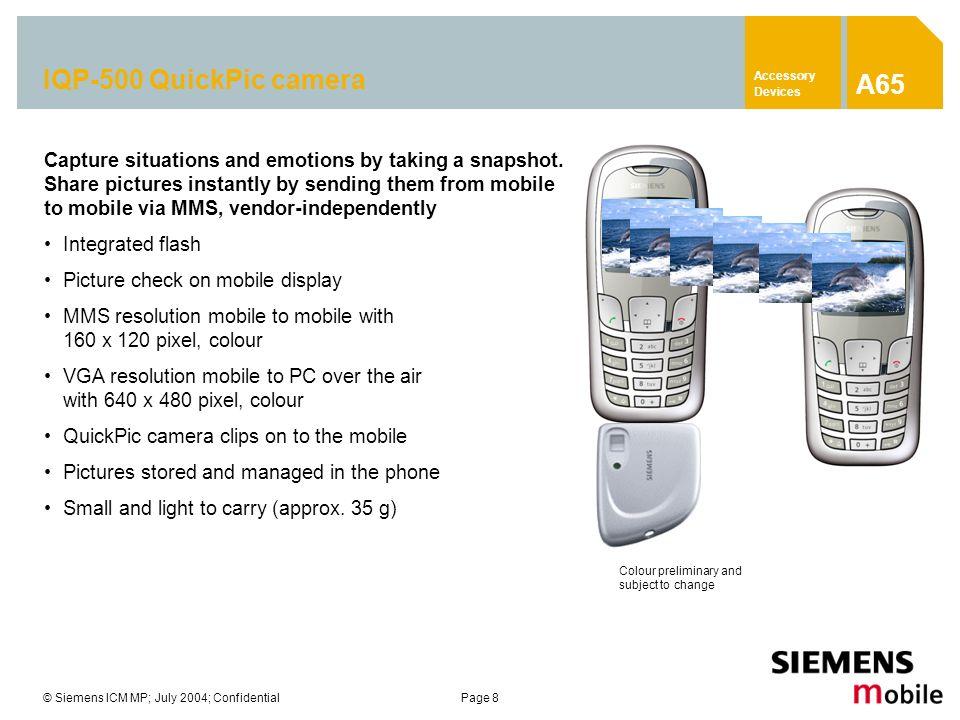 Accessory Devices A65. IQP-500 QuickPic camera.
