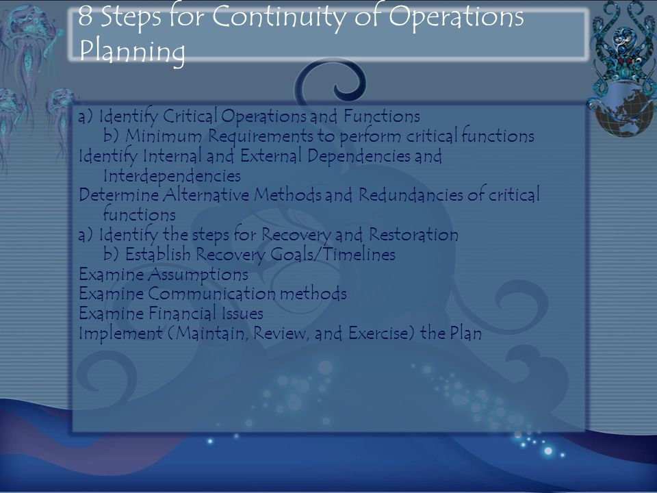 8 Steps for Continuity of Operations Planning