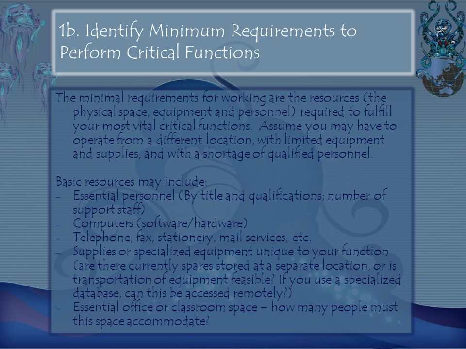 1b. Identify Minimum Requirements to Perform Critical Functions
