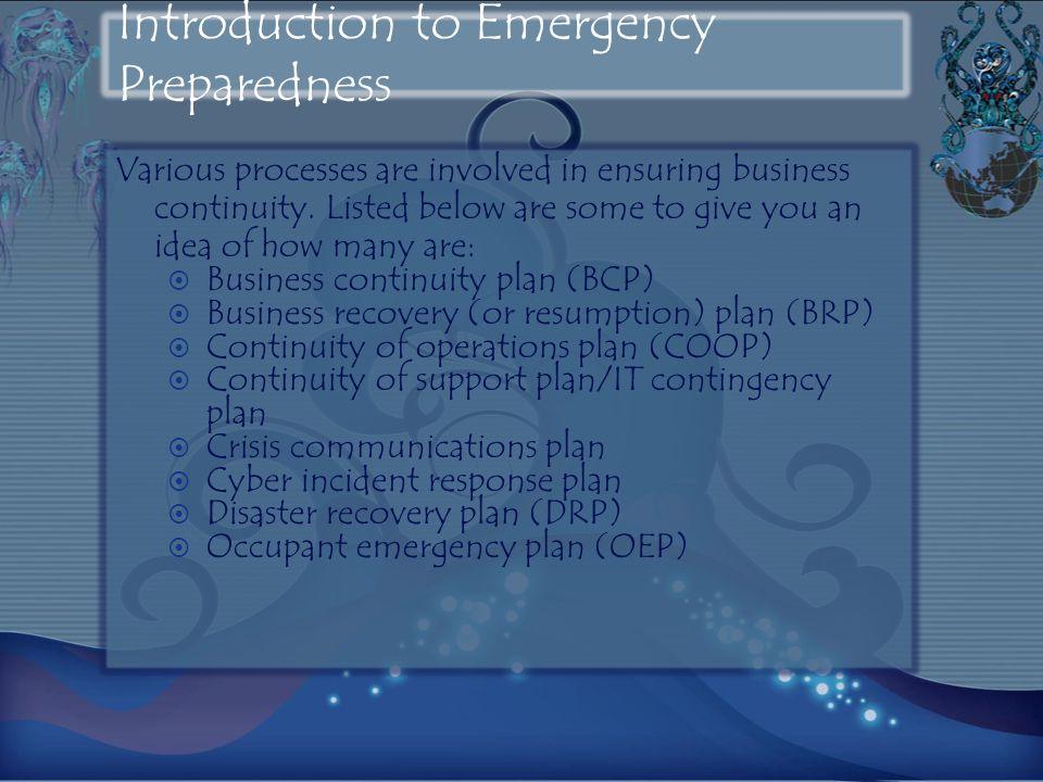 Introduction to Emergency Preparedness
