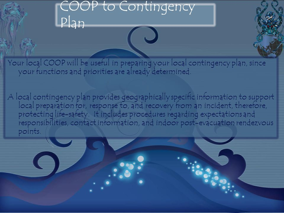 COOP to Contingency Plan