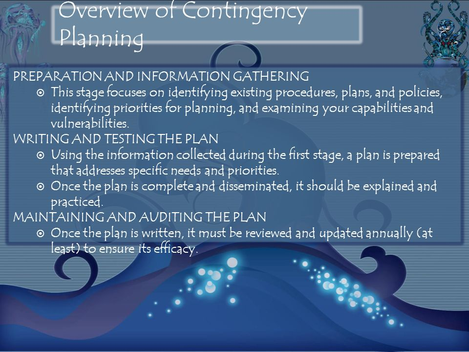 Overview of Contingency Planning