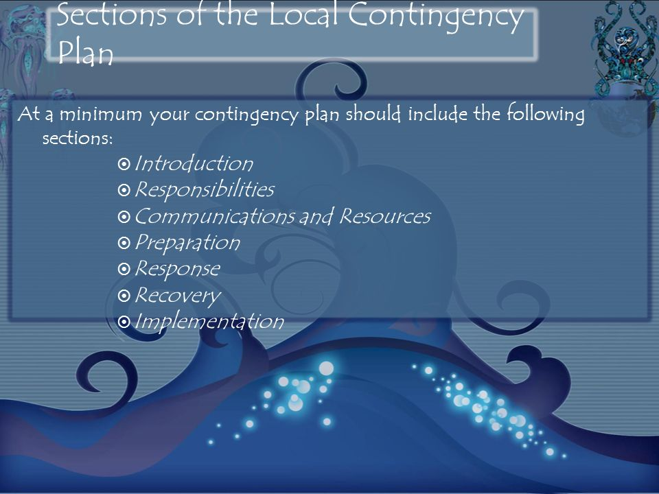 Sections of the Local Contingency Plan