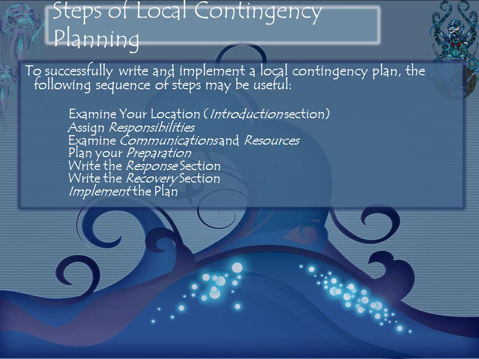 Steps of Local Contingency Planning
