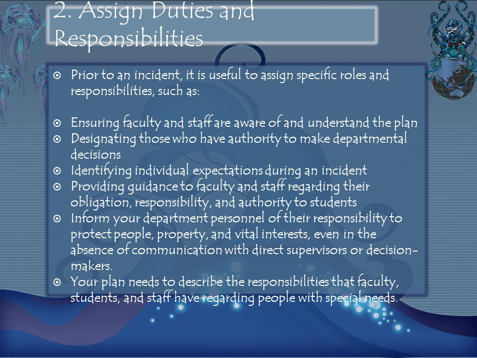 2. Assign Duties and Responsibilities