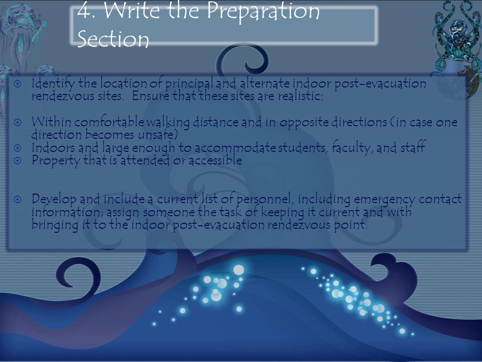 4. Write the Preparation Section