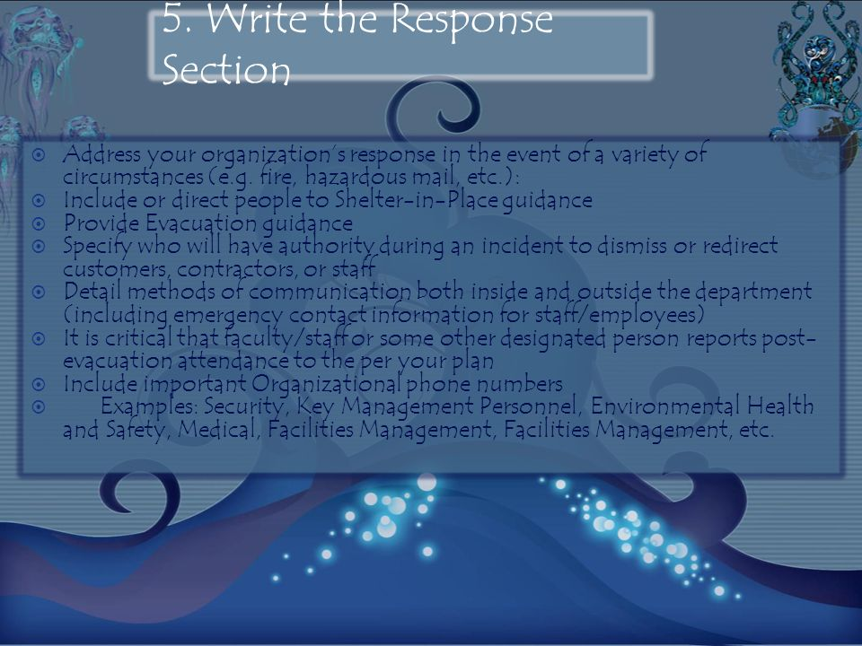 5. Write the Response Section