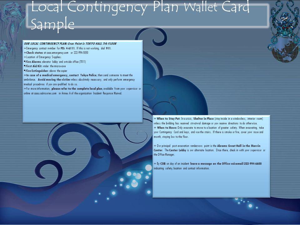 Local Contingency Plan Wallet Card Sample