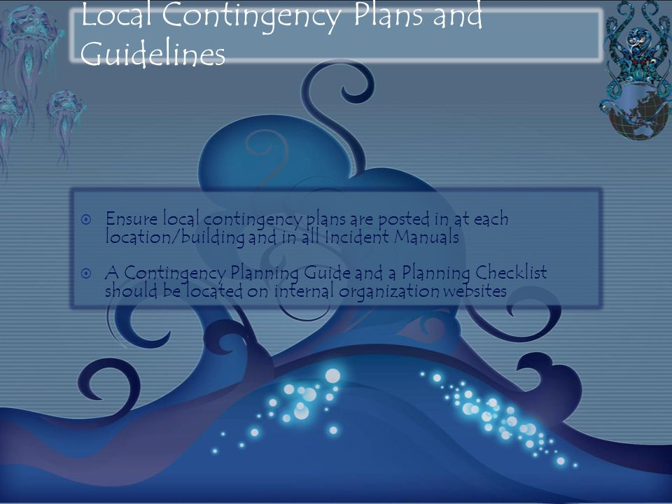 Local Contingency Plans and Guidelines