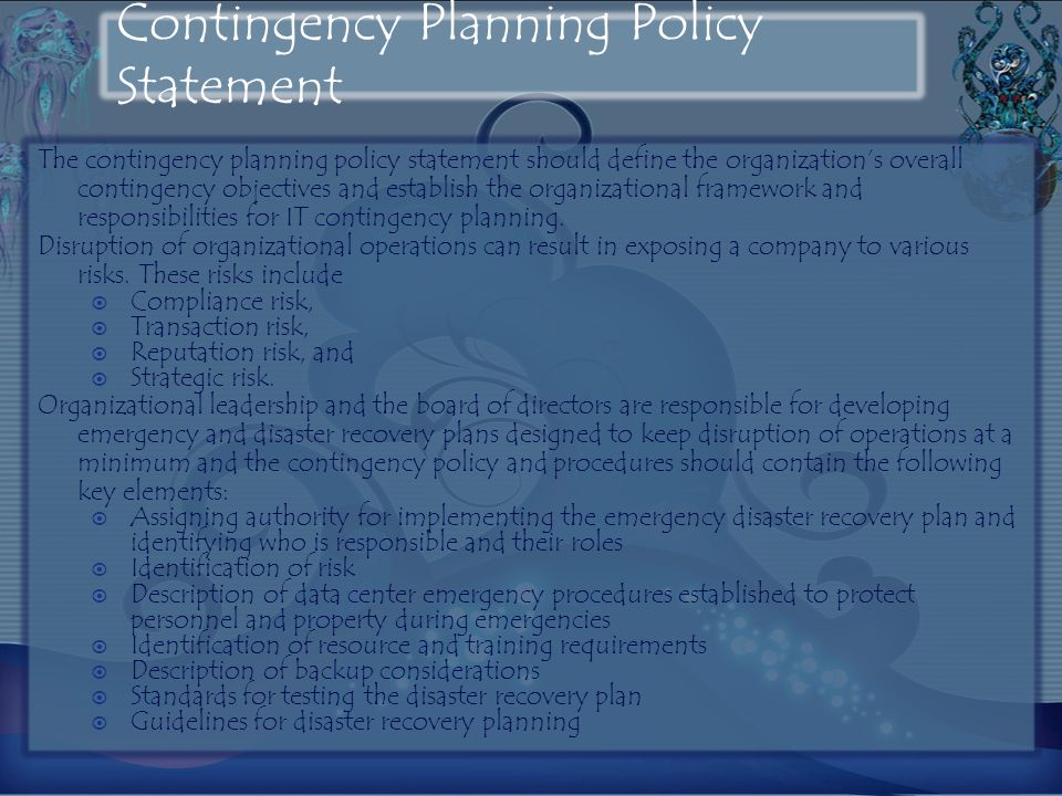 Contingency Planning Policy Statement