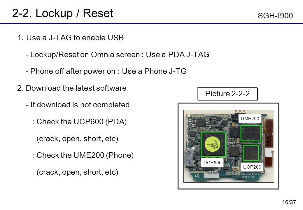 2-2. Lockup / Reset SGH-I900 Use a J-TAG to enable USB