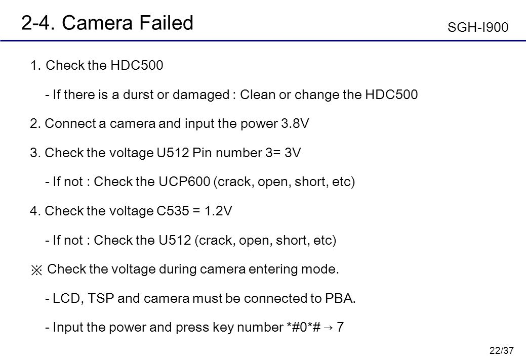 2-4. Camera Failed SGH-I900 Check the HDC500