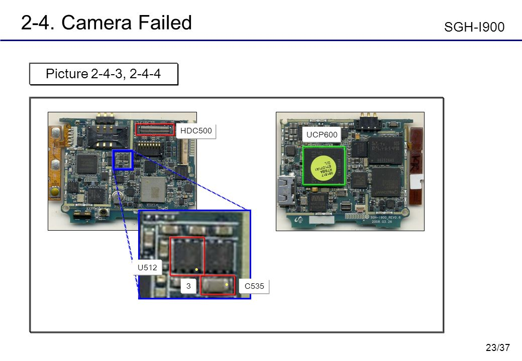 2-4. Camera Failed SGH-I900 Picture 2-4-3, 2-4-4 HDC500 UCP600 U512 3