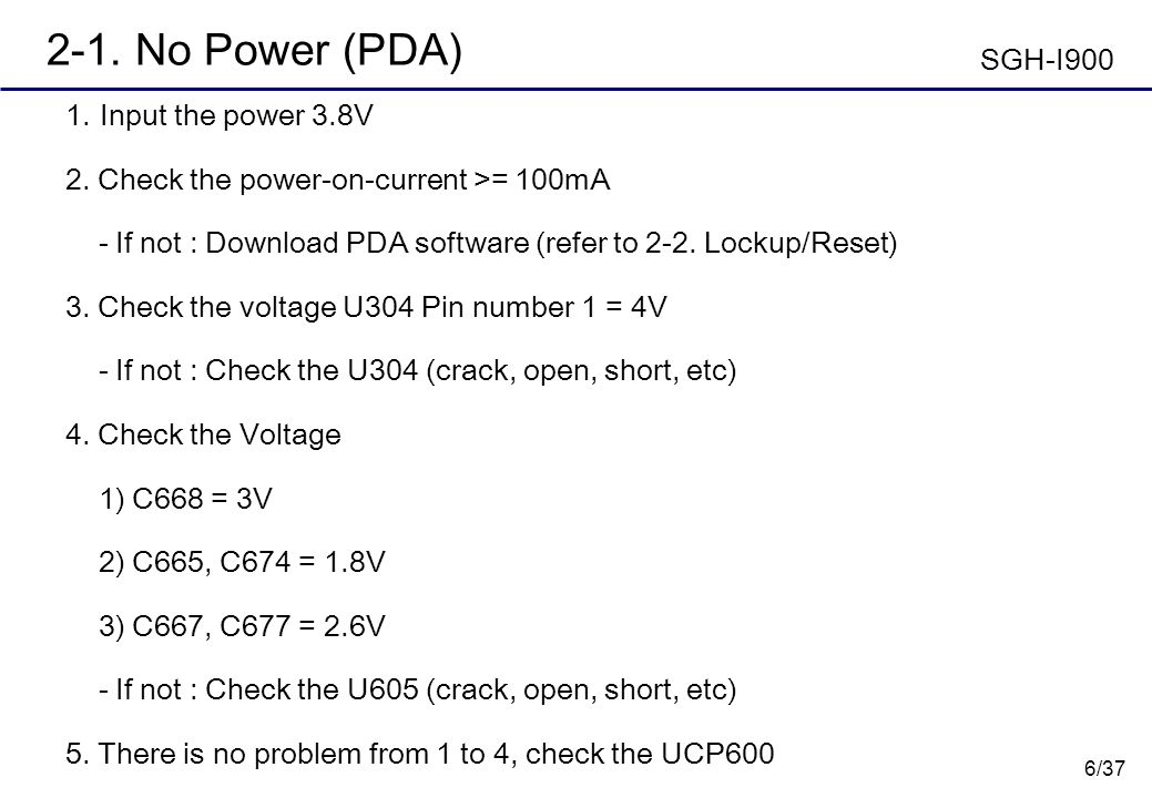 2-1. No Power (PDA) SGH-I900 Input the power 3.8V