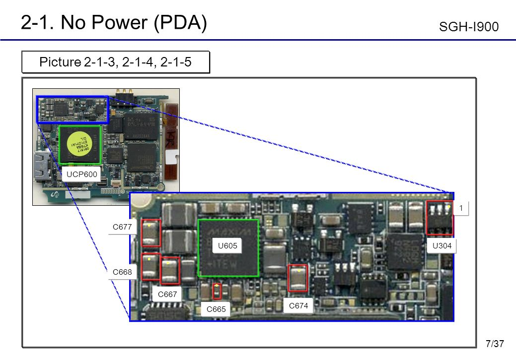 2-1. No Power (PDA) SGH-I900 Picture 2-1-3, 2-1-4, 2-1-5 UCP600 1 C677