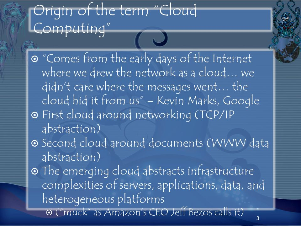 Origin of the term Cloud Computing