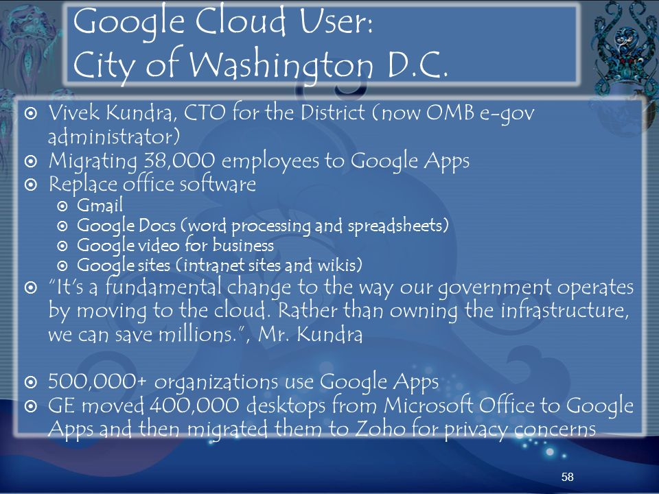 Google Cloud User: City of Washington D.C.