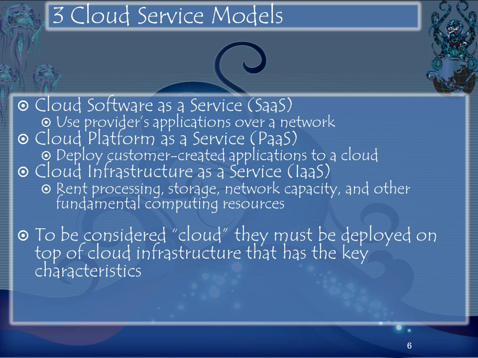 3 Cloud Service Models Cloud Software as a Service (SaaS)