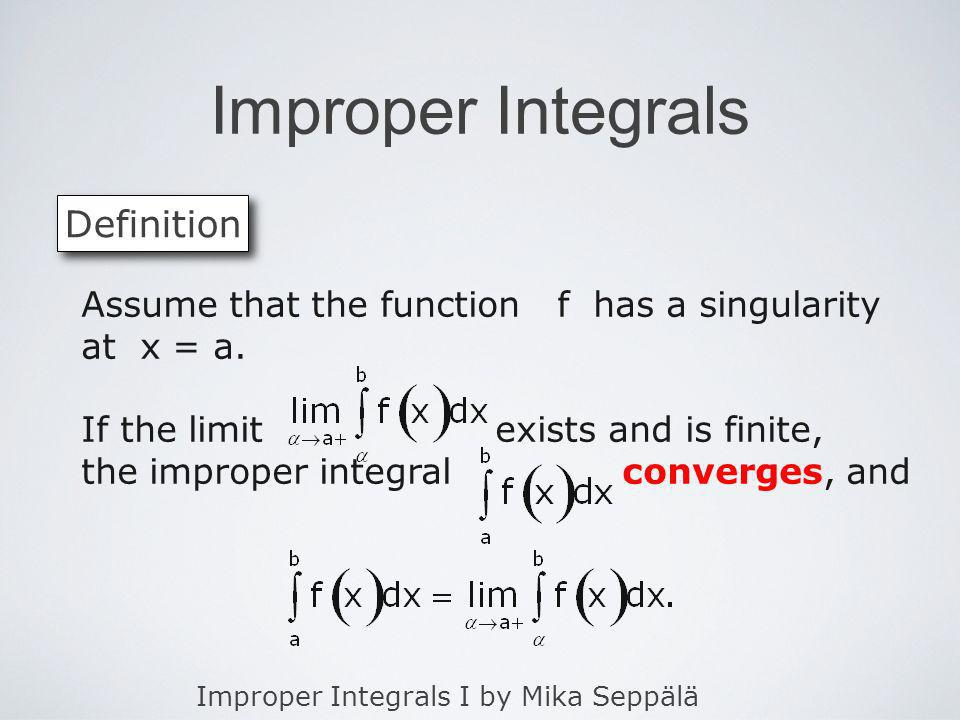 Improper Integrals Definition
