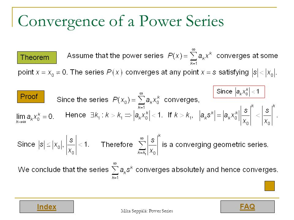 Convergence of a Power Series