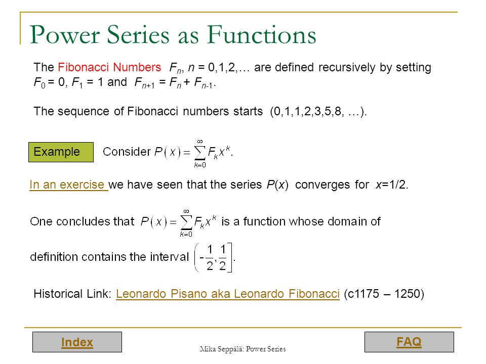 Power Series as Functions