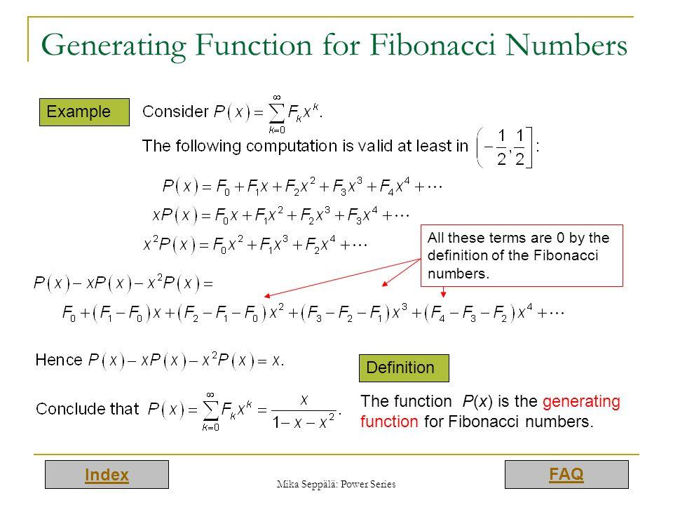 Generating Function for Fibonacci Numbers