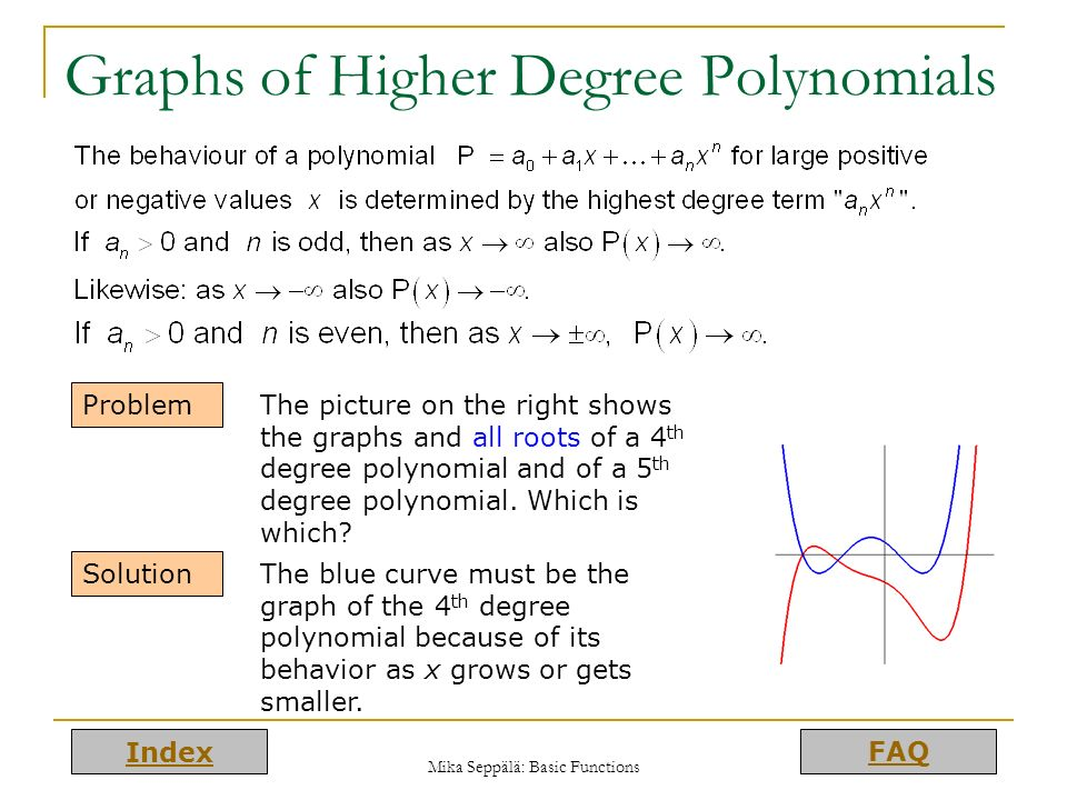 Graphs of Higher Degree Polynomials