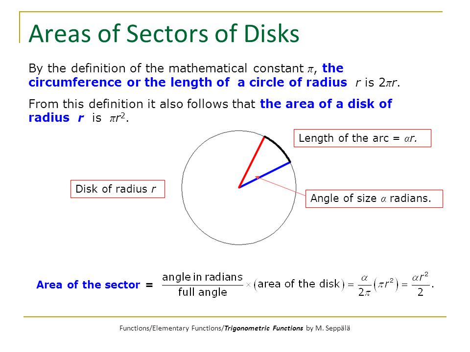 Areas of Sectors of Disks