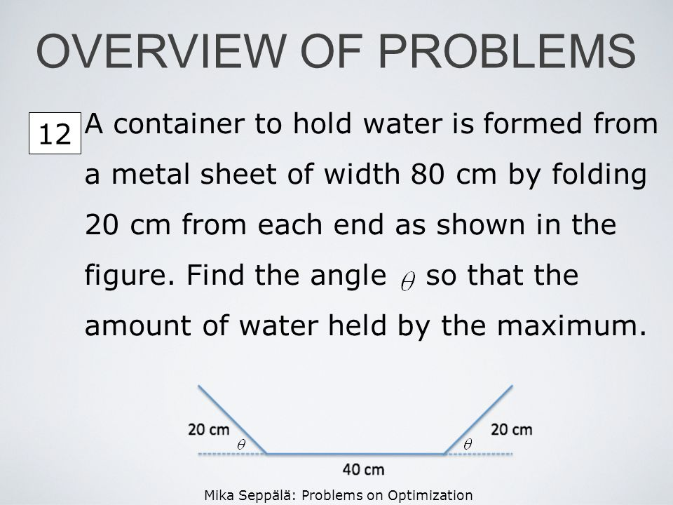 OVERVIEW OF PROBLEMS